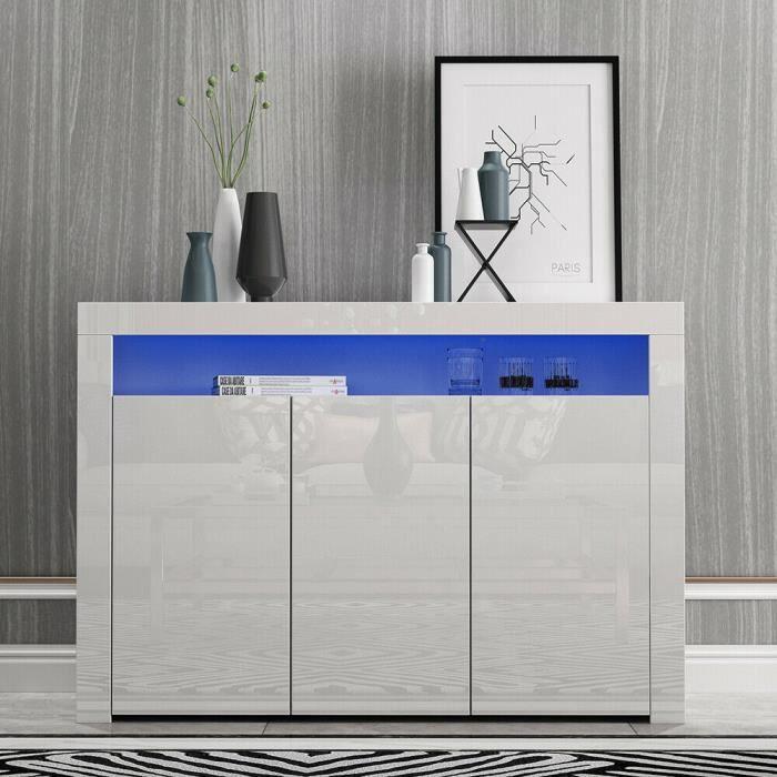 Buffets bas 3 Portes -Brillants - Grandes Vitrines avec Eclairage LED - Meubles de Rangement pour le Salon et la Chambre (Blanc)