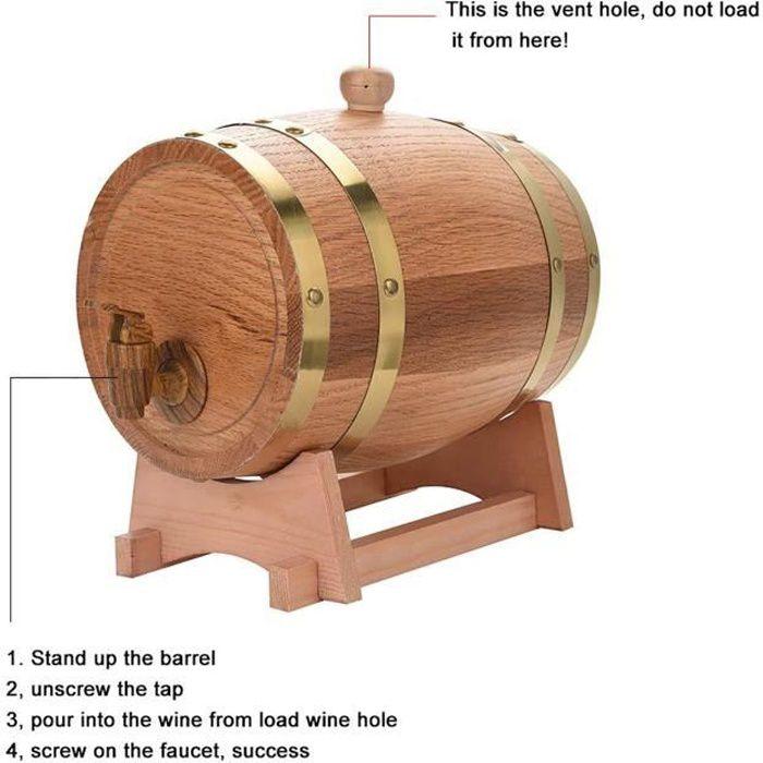 10L Tonneau de Vin en Bois de Chêne Tonneau Vin Vendange Port Bière Whiskey Rum