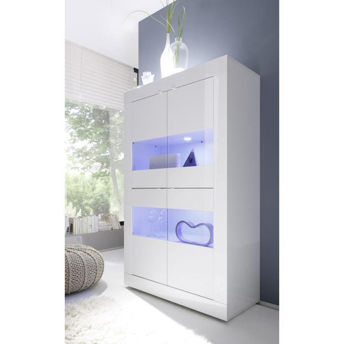 Vaisselier blanc laqué design ARIEL Avec LED L 102 x P 43 x H 162 cm Blanc