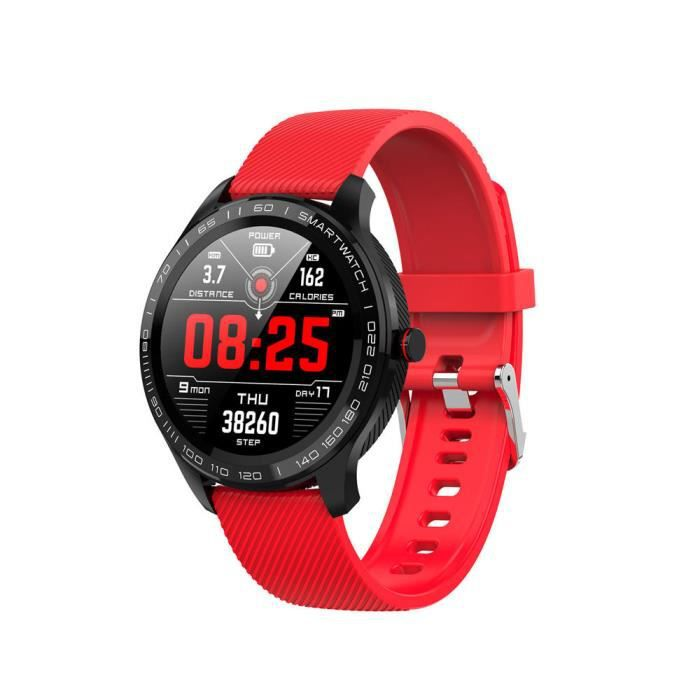 Red Offre spéciale montre intelligente Microwear L9 1.3 pouces écran tactile rond complet 300mAh PPG + ECG fréquence cardiaque IP68