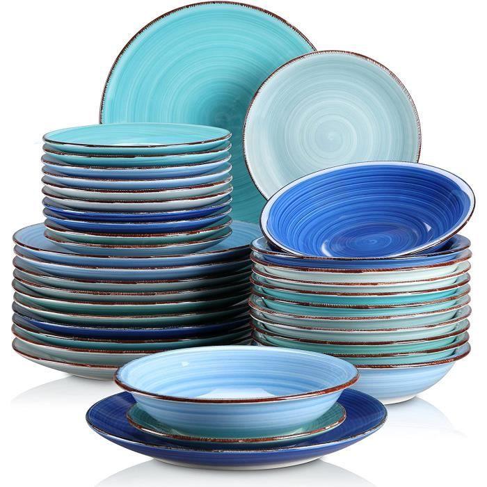 vancasso, Série Bonita, Service de Table Complet en Céramique, 36 Pièces Assiettes, Style Minimaliste Multicoloré-Bleu Dégradé