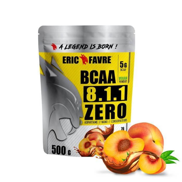 BCAA POUDRE 8.1.1 Zero - Acides Aminés Musculation Vegan 500 Gr - Laboratoire Français Eric Favre (Thé Pêche)