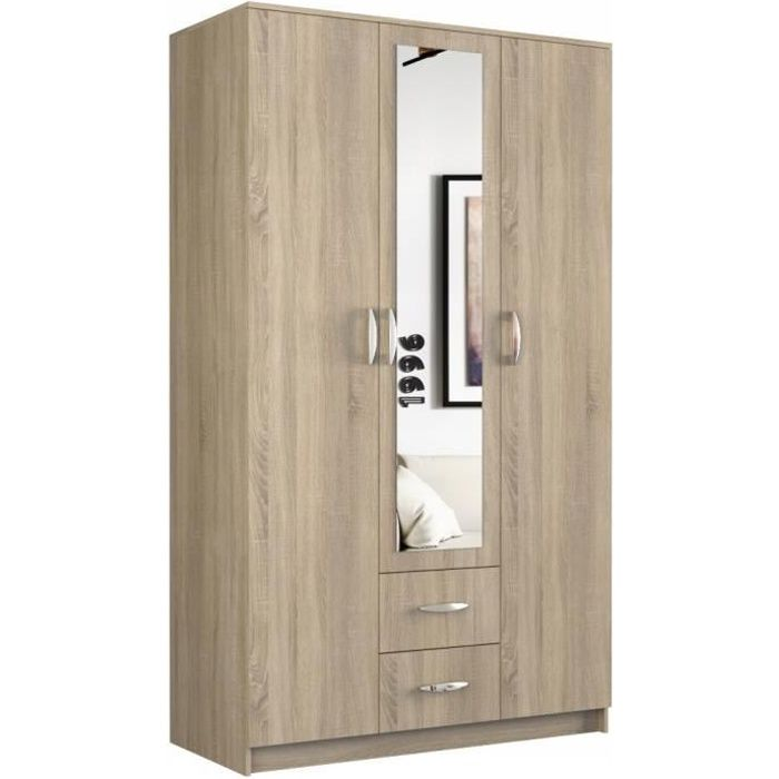 ROMA - Grande Armoire chambre bureau - Penderie multifonctions - 2 portes - Miroir - 2 tiroirs - Meuble de rangement - Etagères -