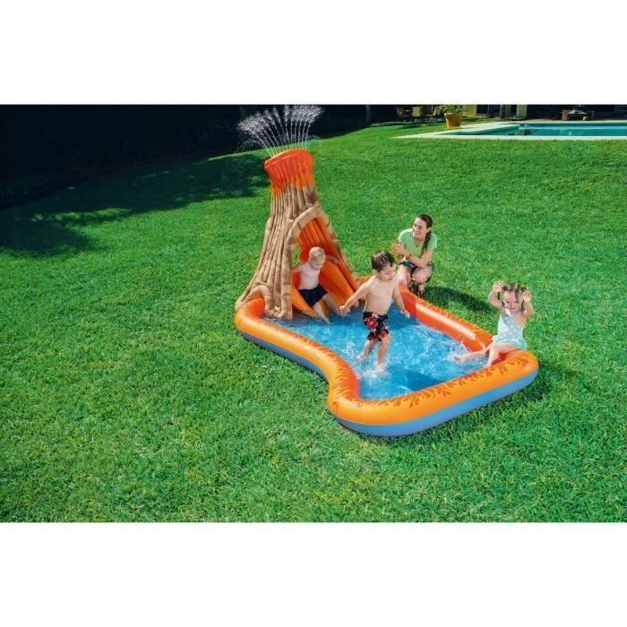 BESTWAY Piscine enfant / Aire de Jeux Aquatique Gonflable Interactive Volcano Splash - 277 x 175 x h150 cm