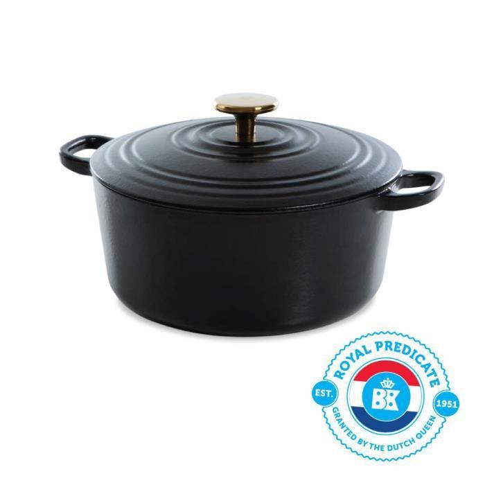 BK Cookware H6079.528 BK Bourgogne Cocotte en Fonte - Ronde - 28 cm - 6.7L - Revêtement émaillé - Couvercle avec Anneaux