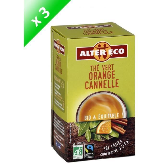 [LOT DE 3] ALTER ECO Thé vert orange cannelle - 3 x 40g