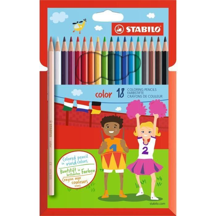 STABILO 18 crayons de couleur STABILO Color (Lot de 3)