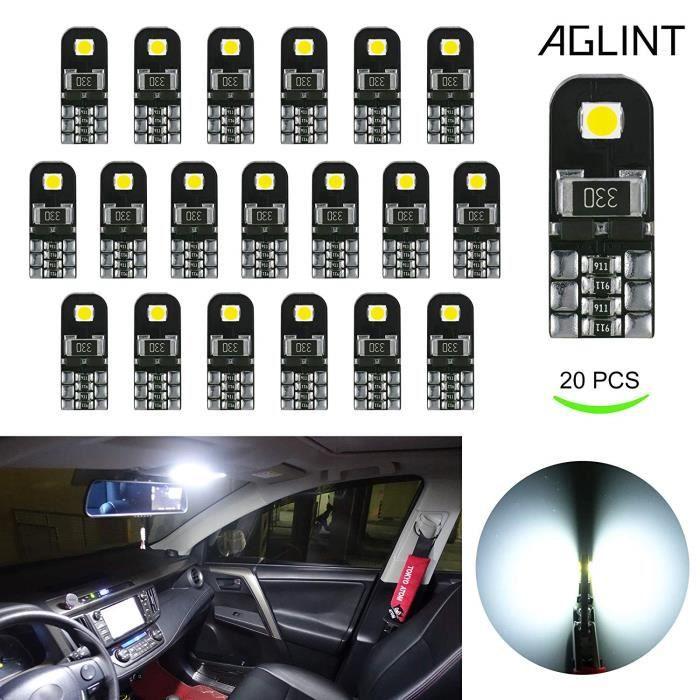 20X Ampoules T10 LED CANBUS Sans Erreur Voiture Lampe 12V Blanc T10 W5W 2825 Intérieur De Voiture Lumière Dôme Feux