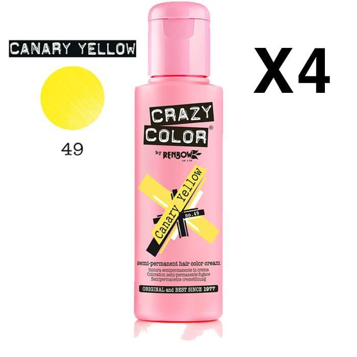4 X Crazy Color Renbow Semi-Permanent Hair Colour Cream Dye 100ml Box of Four