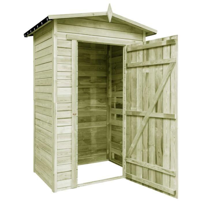 HEG Cabanes Abri de stockage de jardin Bois de pin, imprégné de vert 150 x 100 x 210 cm Avec une serrure brun 7895335335063