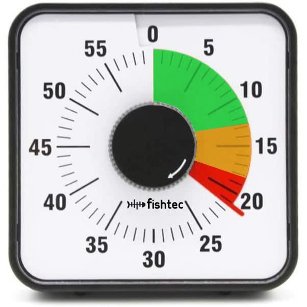 FISHTEC® Minuteur Mécanique Géant - Zones de Couleur - Magnétique - Carré 19 cm
