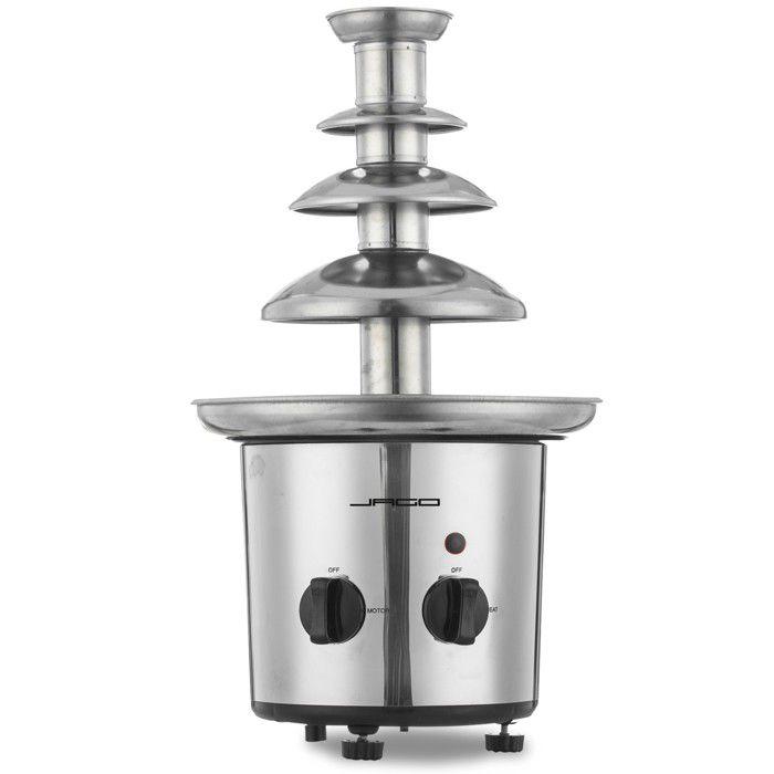 Jago® Fontaine à Chocolat - 275 W, 4 Étages, Capacité 1 kg, Électrique, en Acier Inoxydable, Argenté - Fondue au Chocolat, Fruits