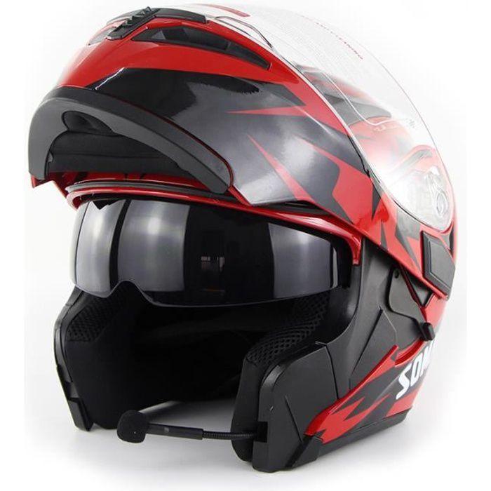 Casque de moto modulable double lentilles casque Bluetooth de sécurité hommes casque de scooter femmes, Troisième œil rouge