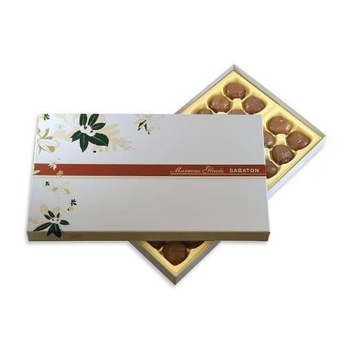 MARRONS GLACES ARDECHE SABATON cartonnage confiseur 650 gr 32 marrons emballés