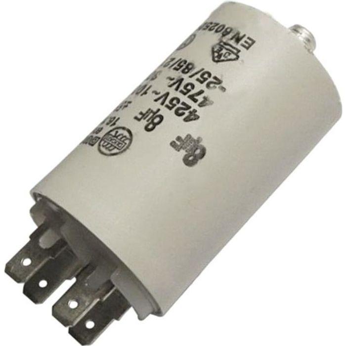 Condensateur 8MF 450V (60920-16223) - Sèche-linge - BRANDT, FAGOR, VEDETTE, CURTISS, THOMSON, FAURE, FAR, LADEN, SELECLINE,