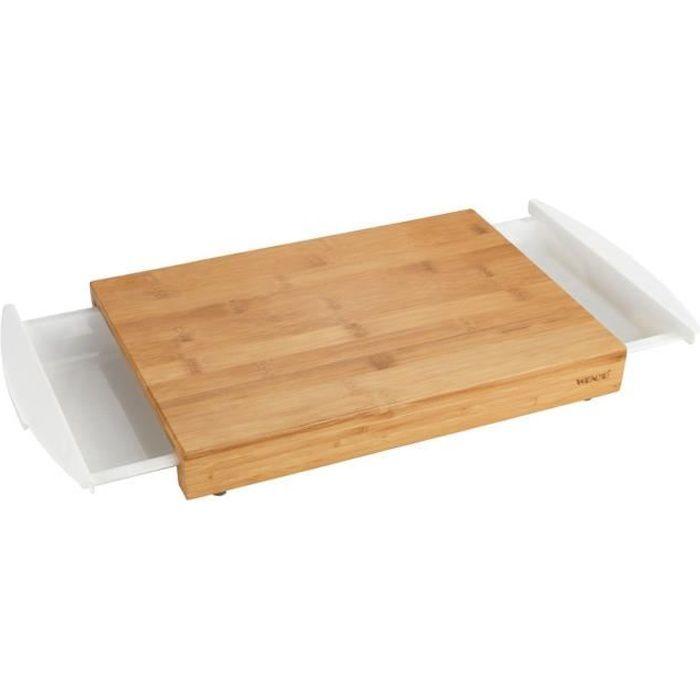 Planche à découper avec tiroirs - 40,5 x 25 cm - Bambou