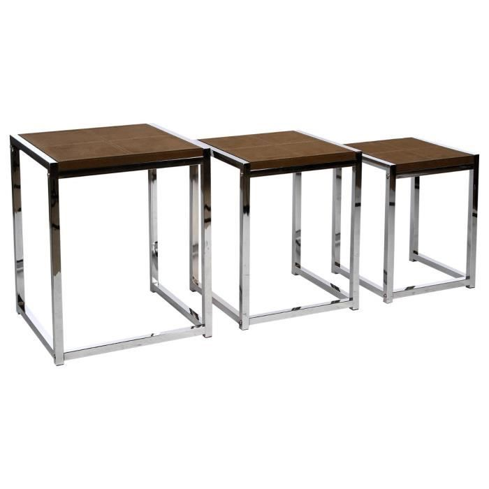 lot de 3 tables basses gigognes de salon en aspect suedine. Black Bedroom Furniture Sets. Home Design Ideas
