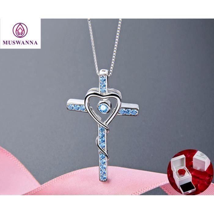 """Argent Sterling 925 Croix Collier Pendentif avec Labo Diamants//18/"""" Chaîne"""