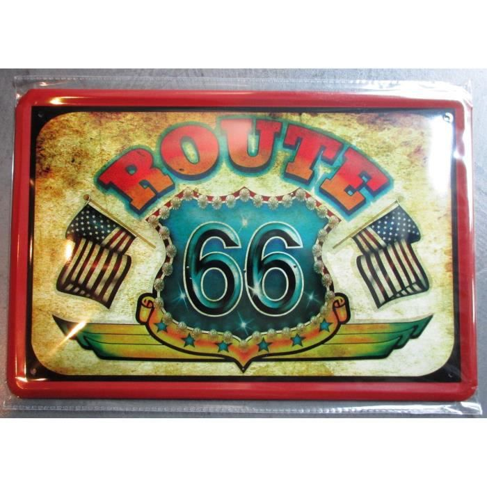 plaque publiictaire 30cm route 66 mother road drapeau americain tole affiche metal d co achat. Black Bedroom Furniture Sets. Home Design Ideas