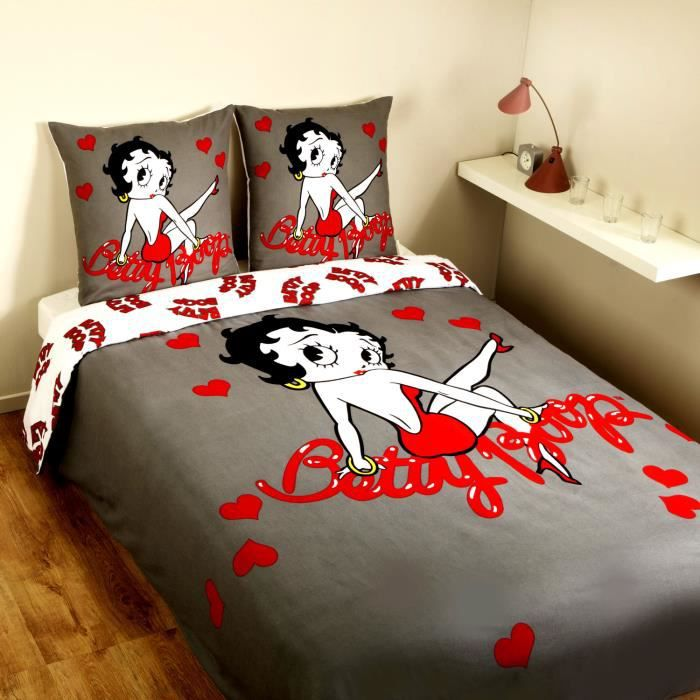 parure housse de couette flanelle 100 coton betty boop love 200x200 cm 2 taies d 39 oreiller. Black Bedroom Furniture Sets. Home Design Ideas