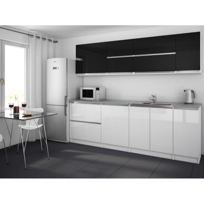 moderna noir blanc cuisine compl te 260 cm achat vente cuisine compl te moderna noir blanc. Black Bedroom Furniture Sets. Home Design Ideas