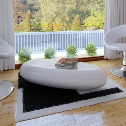 Table basse galet plat blanc achat vente table basse for Achat galet blanc