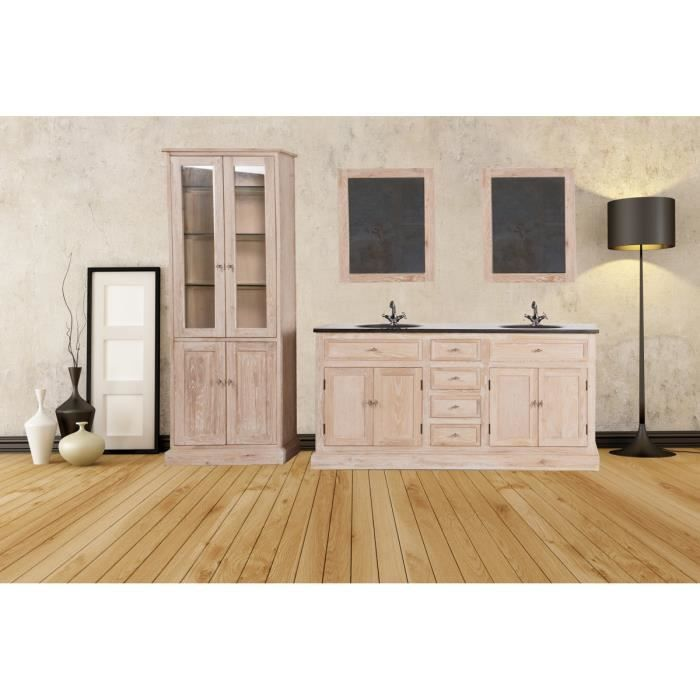 meuble double vasques en ch ne blanchi avec miroirs rangement 39 capio 39 meuble house marron. Black Bedroom Furniture Sets. Home Design Ideas