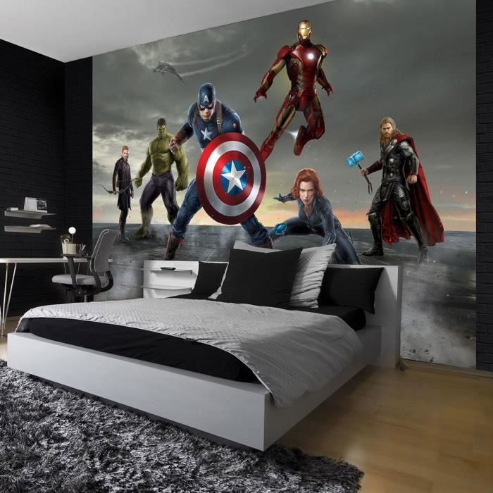 papier peint photo marvel avengers 416x290 cm pour chambre. Black Bedroom Furniture Sets. Home Design Ideas