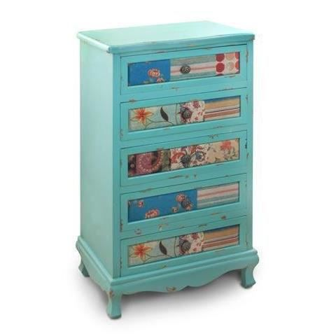 commode retro bleue avec 5 tiroirs multicolores achat vente commode semainier commode. Black Bedroom Furniture Sets. Home Design Ideas