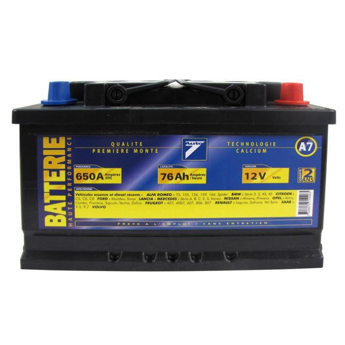 BATTERIE VÉHICULE Batterie 12V 76AH 650A (EN) : Auto7