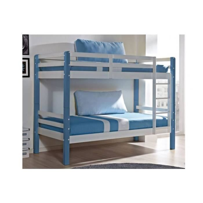 lit superpos comete en pin massif blanc et bleu couchage 190 x 90 achat vente lits. Black Bedroom Furniture Sets. Home Design Ideas