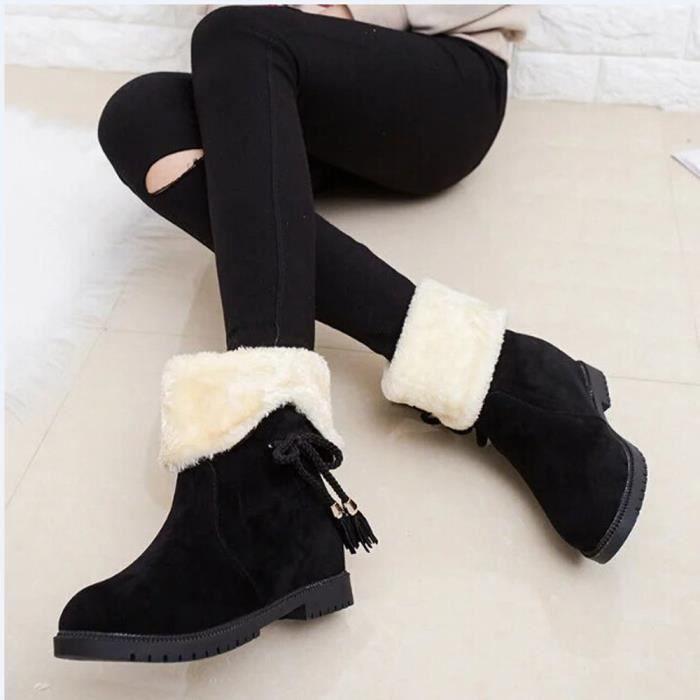 Bottes de neige d'hiver Bottines femme Chaussures Talons Bottes hiver Chaussures Mode Noir