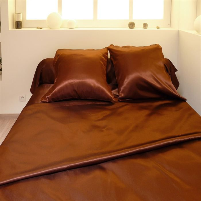 parure de couette 220x240cm satin 3 pces choco achat. Black Bedroom Furniture Sets. Home Design Ideas