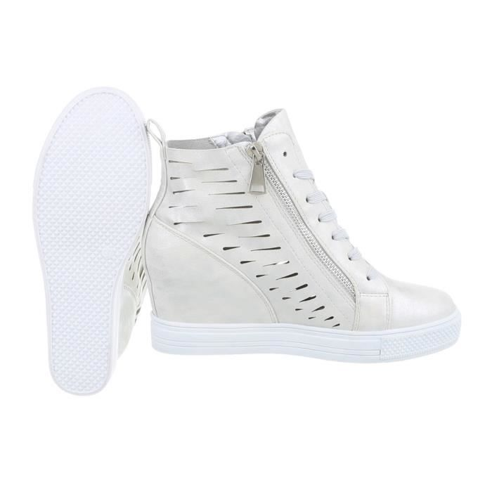femmes chaussures Loisirs Chaussures coin Wedges Sneakers argent 36