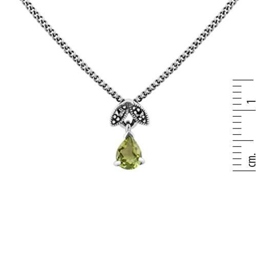 ARGENT STERLING 0.30ct ct P�ridot & MARCASSITE ao�t 45cm Collier
