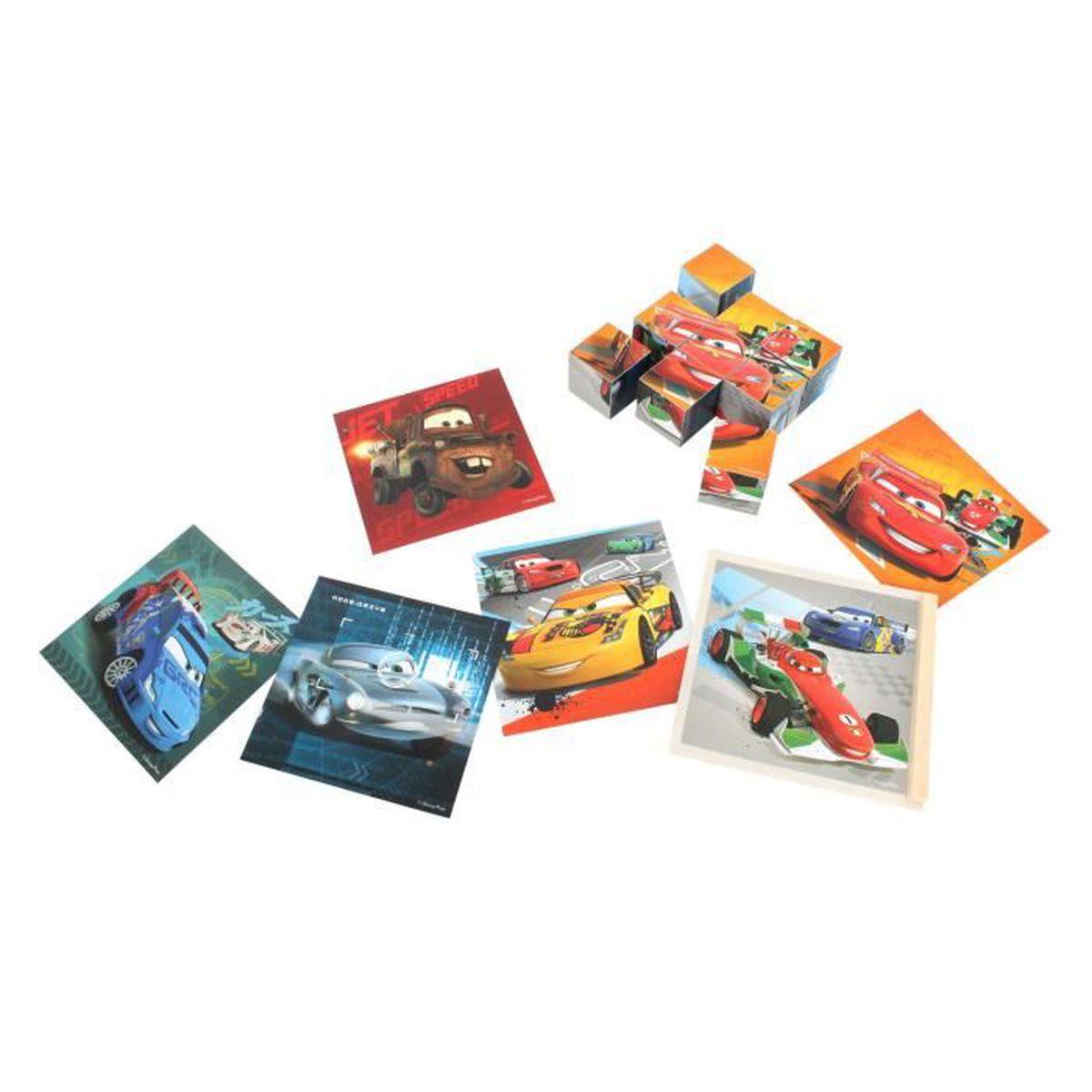 CUBE ÉVEIL Cars Jeu de 9 cubes en bois pour enfant : Cars