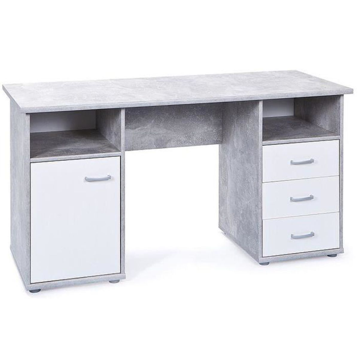 bureau en b ton avec 3 tiroirs 1 porte et 2 niches coloris gris clair blanc dim l 148 x p. Black Bedroom Furniture Sets. Home Design Ideas