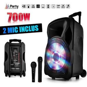 "PACK SONO Enceinte sono mobile amplifiée 700W 12"" LED/USB/BT"