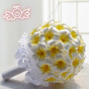 FLEUR ARTIFICIELLE 20cm Plumeria blanc + Jaune clair bouquet de fleur