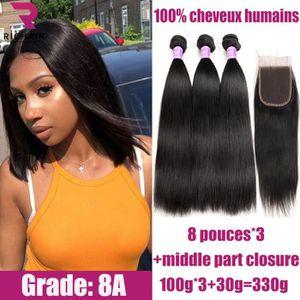 PERRUQUE - POSTICHE 3 tissage bresilien lisse cheveux naturel human ha