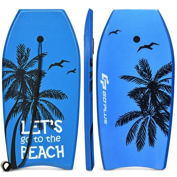 COSTWAY 41- Bodyboard Planche de Surf en XPE avec Sangle de 90 CM-pour plus de 14 Ans Charge 85KG 105x51x6CM Imprimé Cocotier Bleu