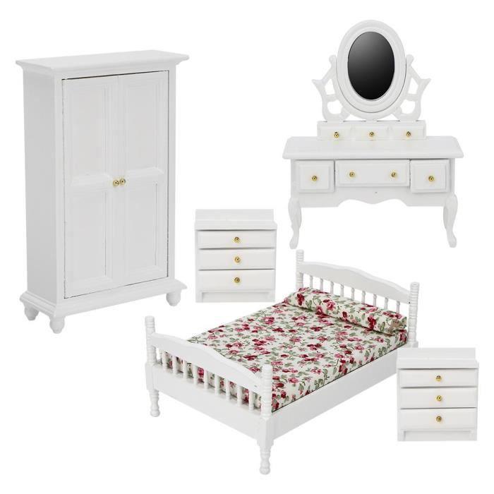 5pcs 1-12 Accessoire Kit de Mini Chambre à Coucher en Bois Meubles Miniatures Maison de Poupées-XIC