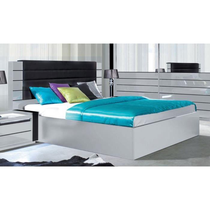 Lit adulte design LINA blanc et noir laqué + tête de lit en simili cuir