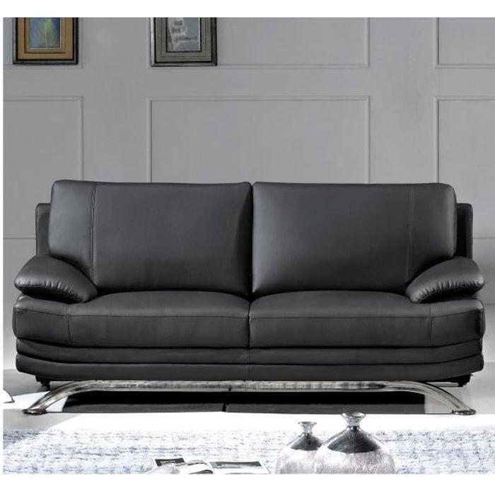 ROMA - Canapé design 3 places en cuir noir
