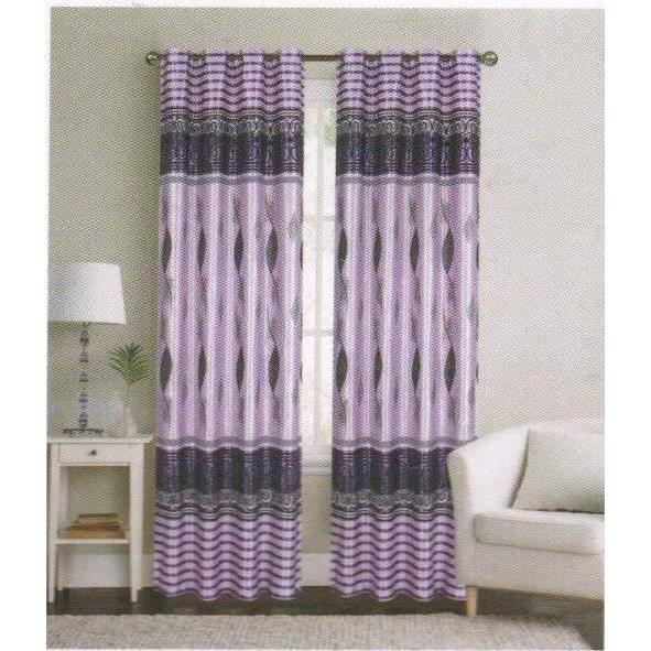 Panneaux de rideaux occultants imprimés -KADOMO- (140 X 260cm) - Violet foncé