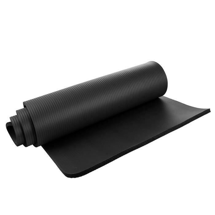 Tapis de yoga 15mm epais Exercice Fitness Physio Pilates Gym Mat Non Slip Mat Crash Noir