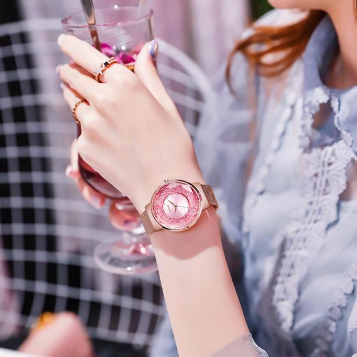 Exclusivement pour les montres pour femmes, éléments Swarovski étoilés en strass, montres étanches à mouvement j SBSBWGHY5732