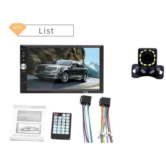 Autoradio Bluetooth mains libres voiture MP5 lecteur Autoradio 2 Din Mirrorlink Support d'image inverse - Type With 12Led camera