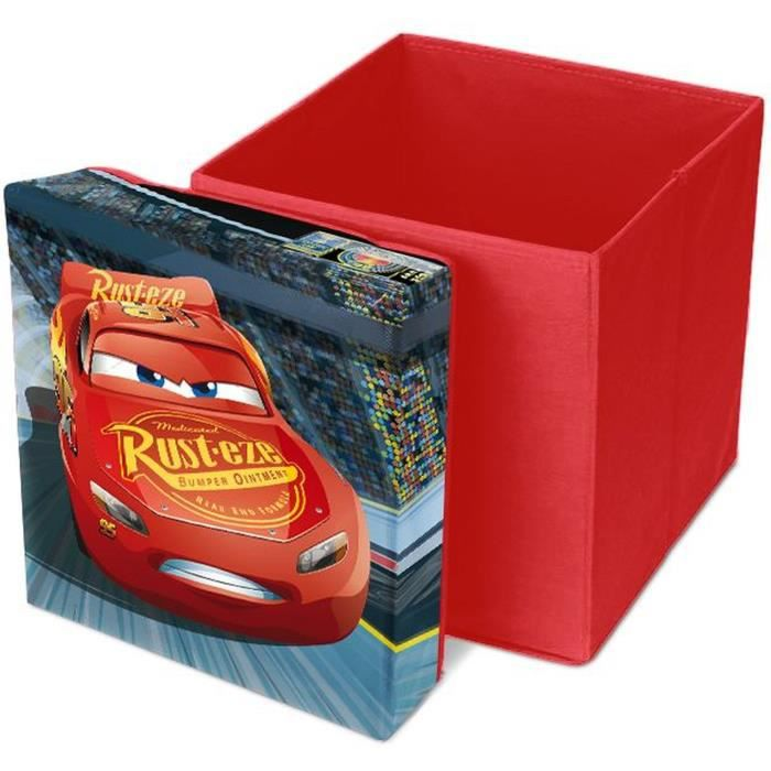 CARS Pouf de Rangement Carré - 31 x 31 x 33 cm - Rouge - Disney