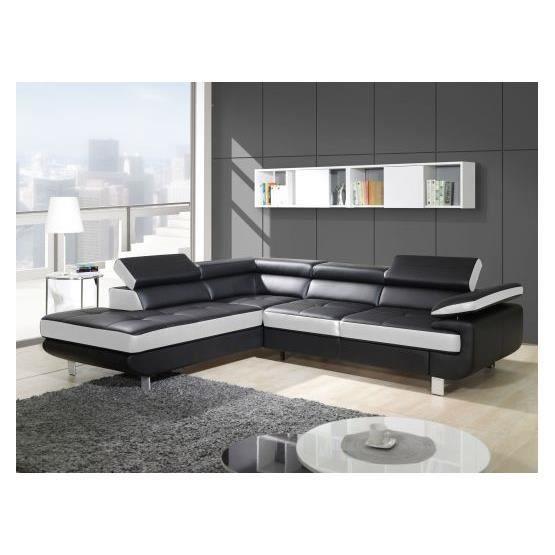 Canapé design d'angle studio noir et blanc Angle gauche